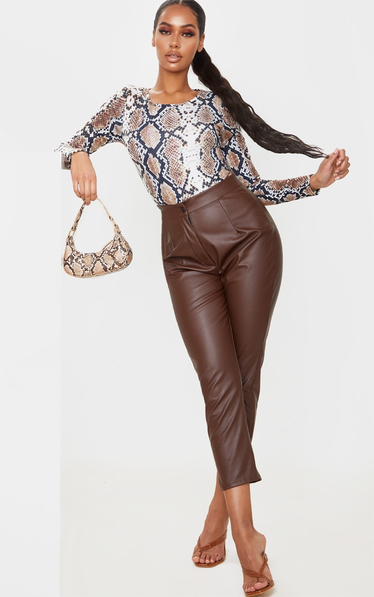 Tan Jersey Leopard Print Long Sleeve Bodysuit 3