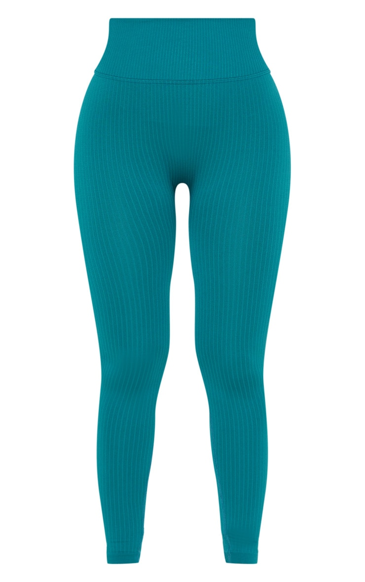 Emerald Green Ribbed Seamless Sports Legging 3