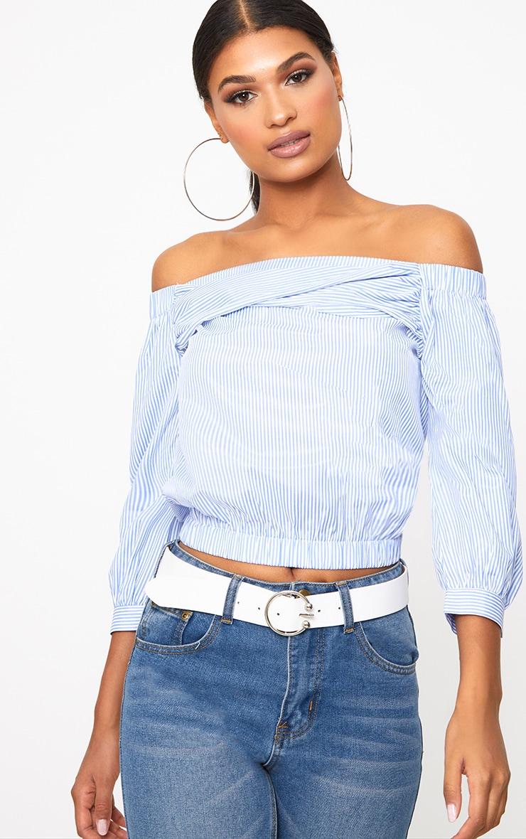 Blue Stripe Bardot Shirt 1