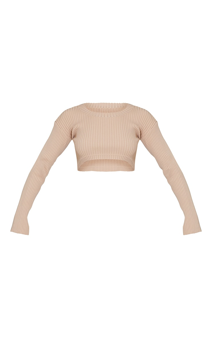 Nude Ribbed Super Cropped Knitted Jumper 5
