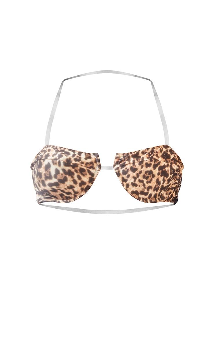Leopard Clear Strap Underwired Bikini Top 5