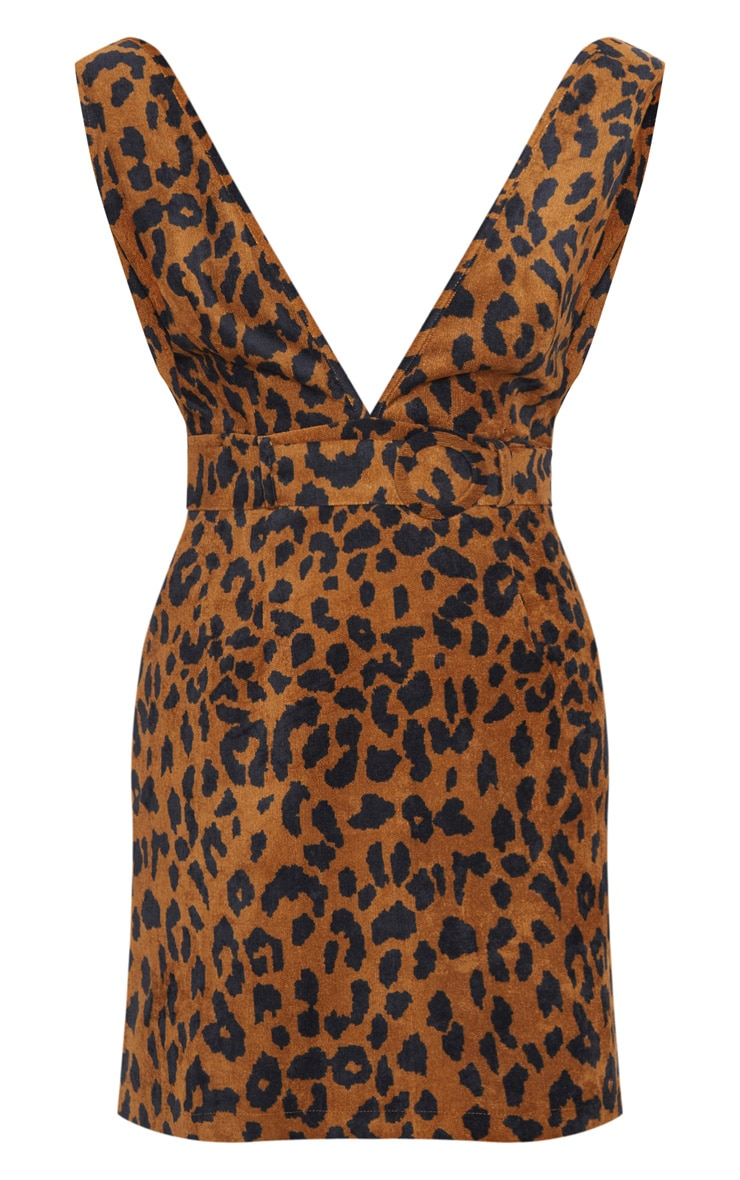 Camel Leopard Print Corduroy Belted Pinafore Dress 3