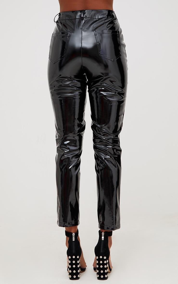 Pantalon à lacets et œillets vinyle noir 4