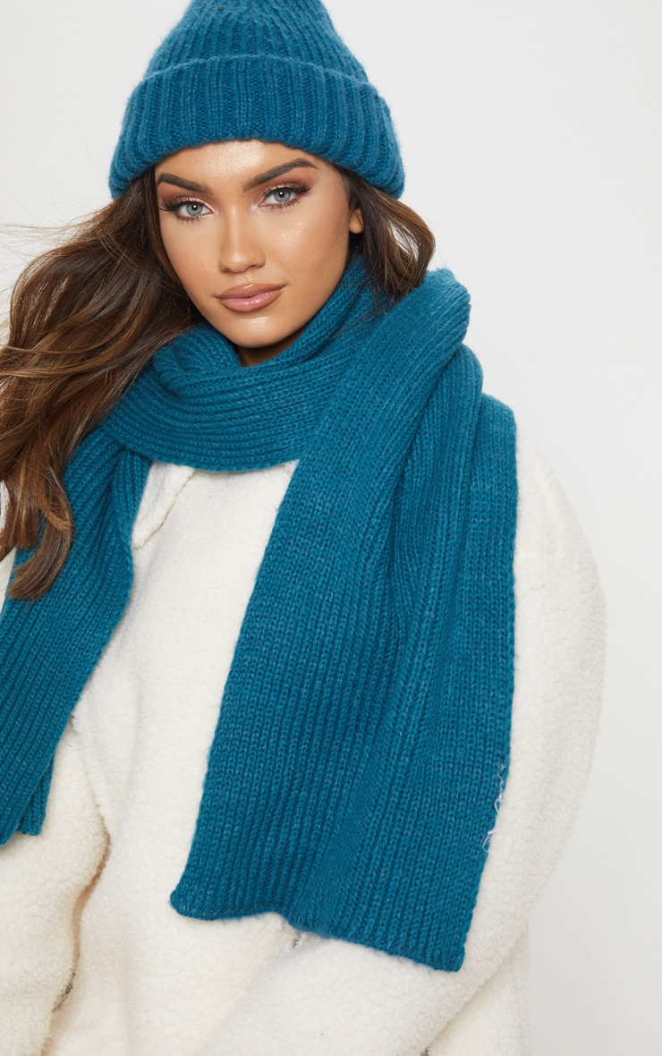Teal Ribbed Knit Scarf 1
