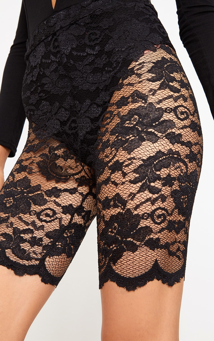Black Scallop Lace Cycle Shorts 6