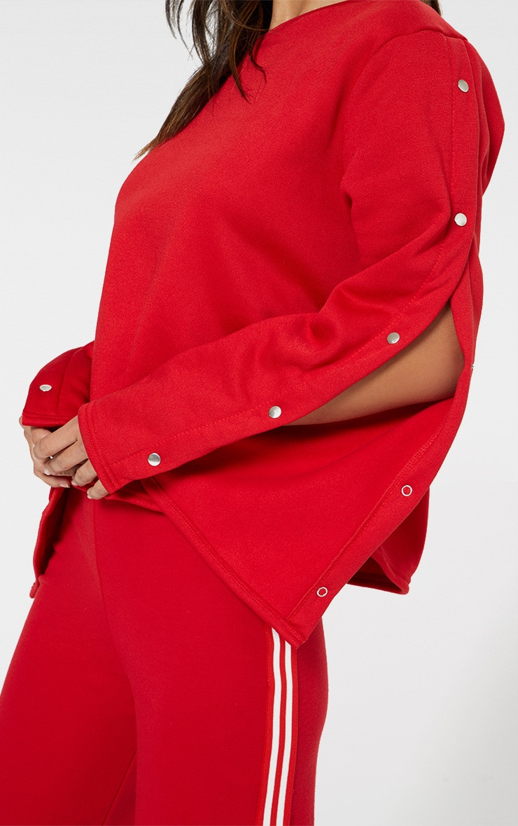 Red Popper Sleeve Sweater  4