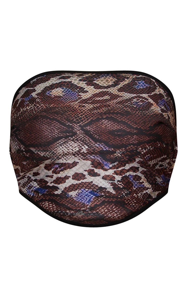 Brown Woven Abstract Snake Print Tie Back Corset Bandeau 5