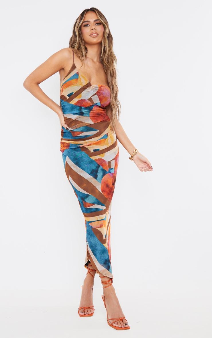 Multi Abstract Mesh Asymmetric Strappy Midaxi Dress 4