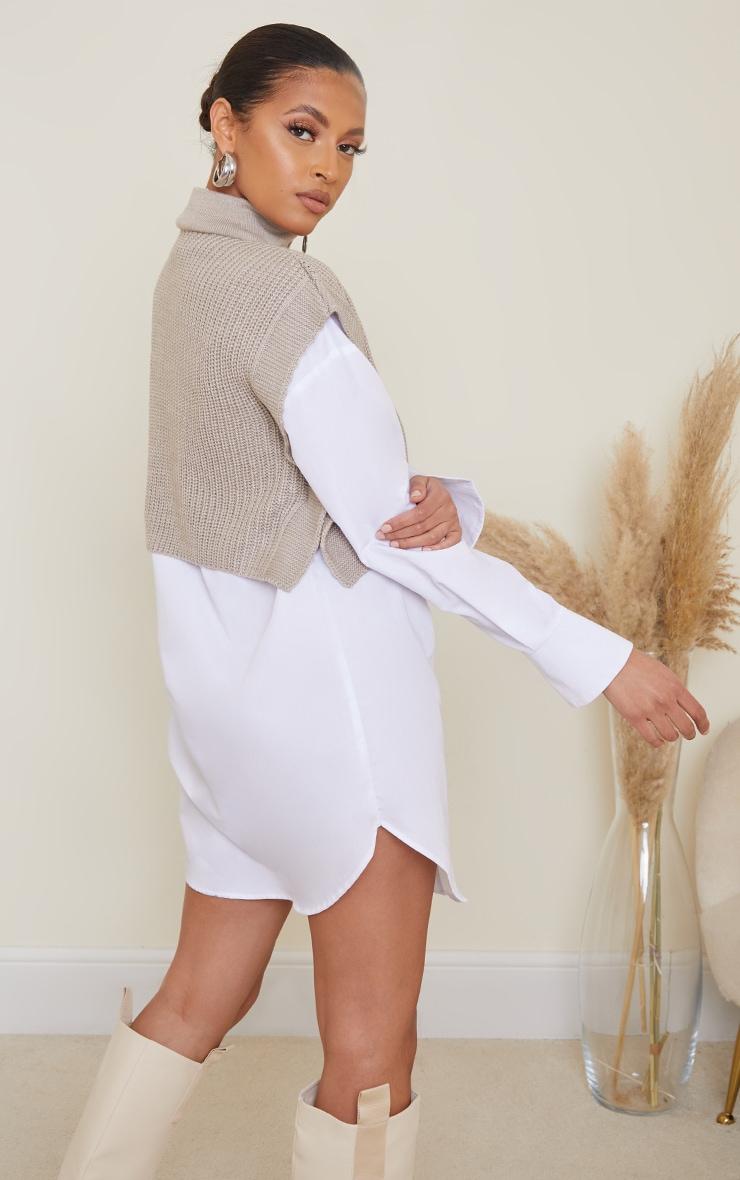 Stone Zip Up Knitted Sleeveless Vest 2