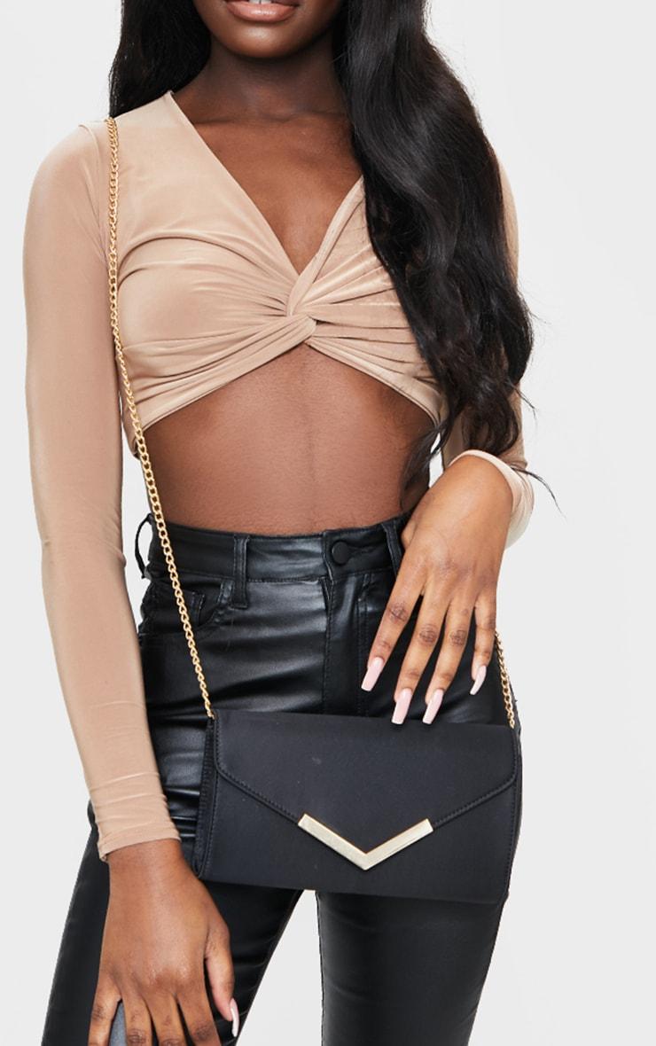 Black Satin Clutch Bag 1