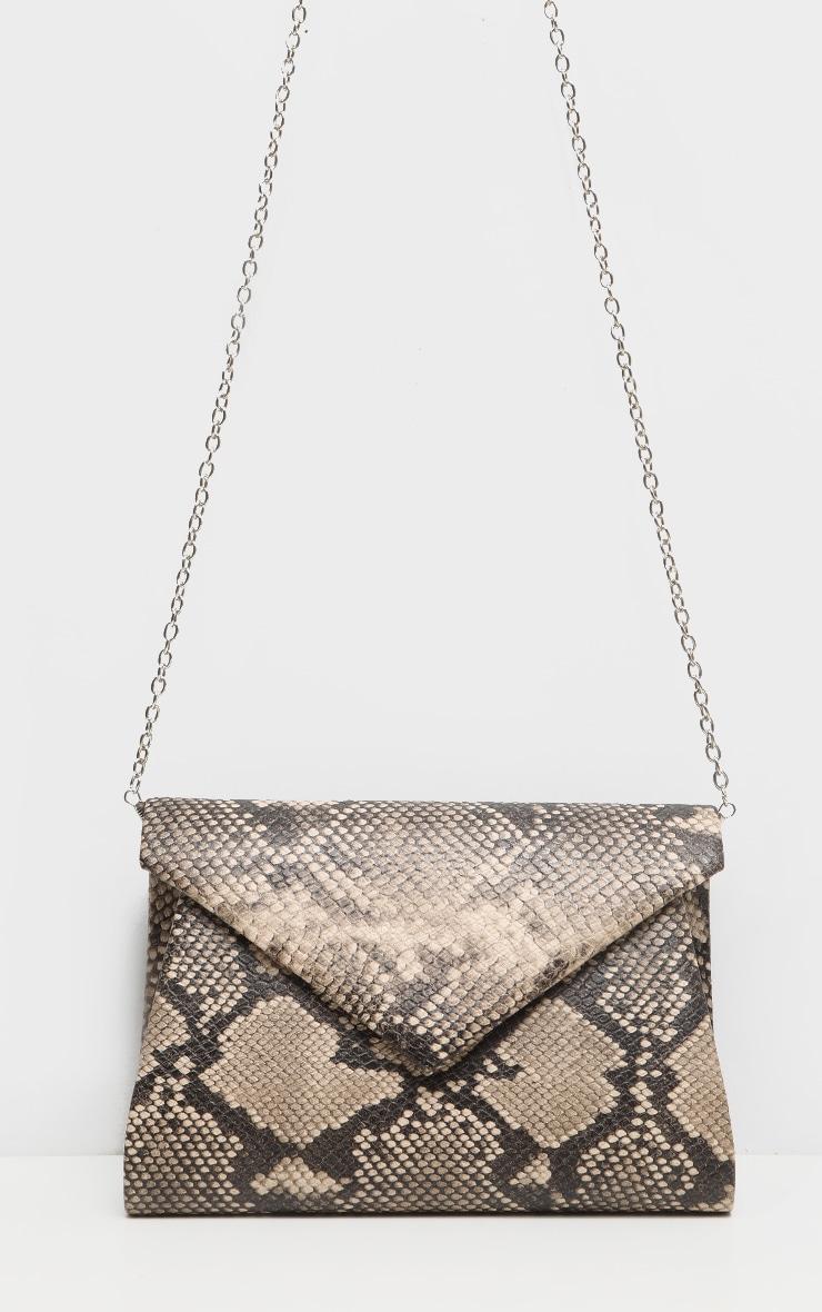 Brown Snake PU Envelope Clutch Bag 2