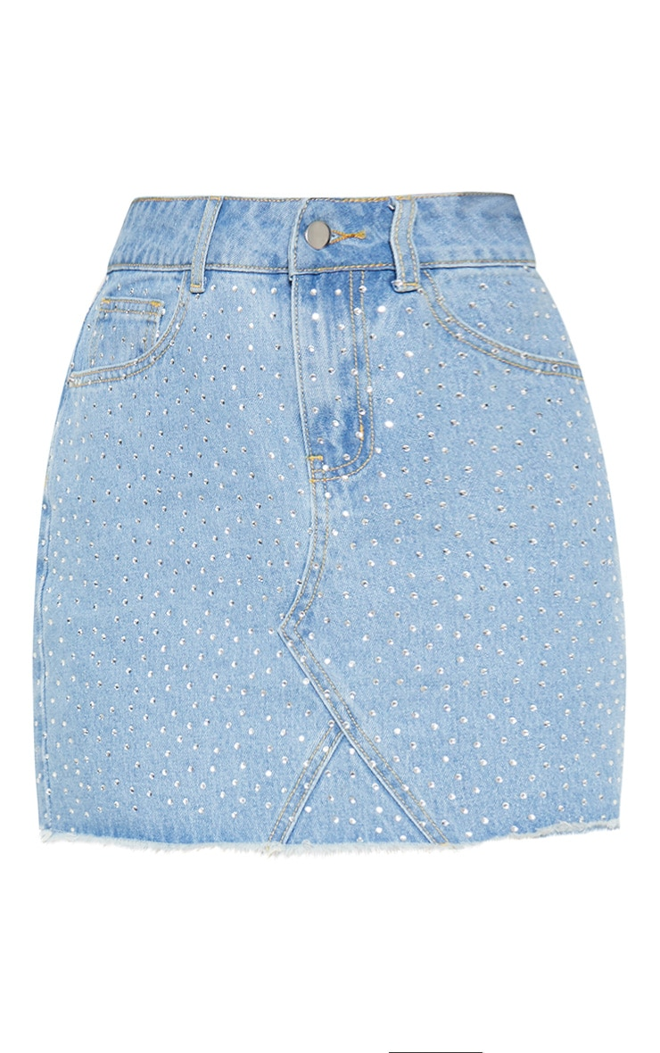 Light Wash Diamante Denim Skirt 3
