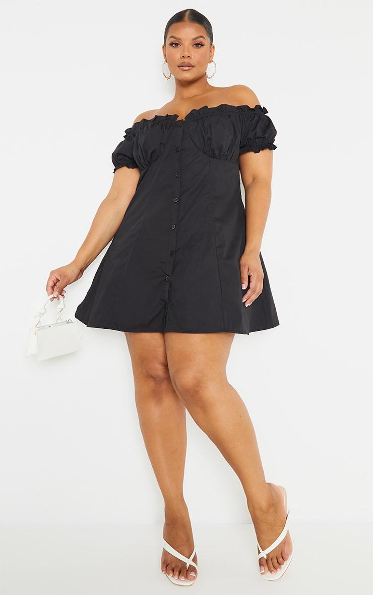 Plus Black Button Front Puff Sleeve Shift Dress 1