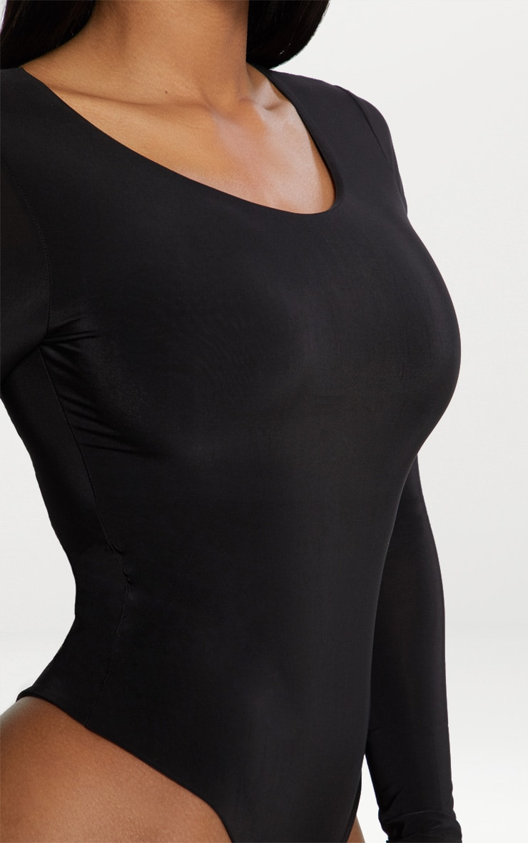 Black Second Skin Long Sleeve Thong Bodysuit 6