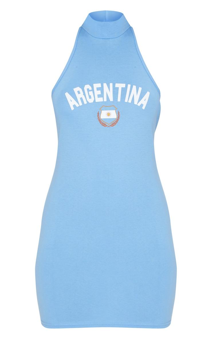 Pastel Blue Argentina Football High Neck Bodycon Dress 3