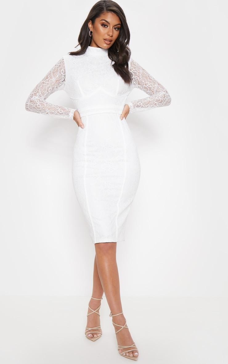 White Lace Binding Detail High Neck Midi Dress 1