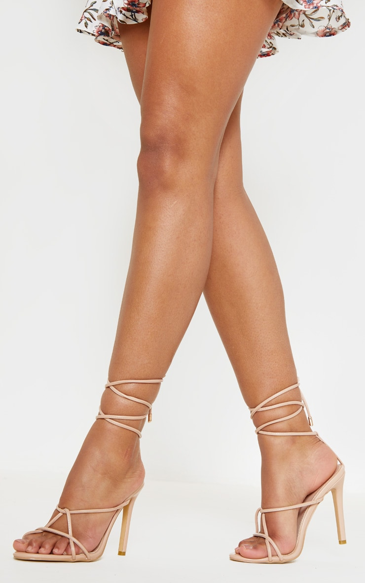 Nude Strappy Tie Sandal 1