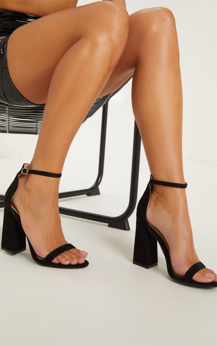 Black High Block Heel Strappy Sandal 1