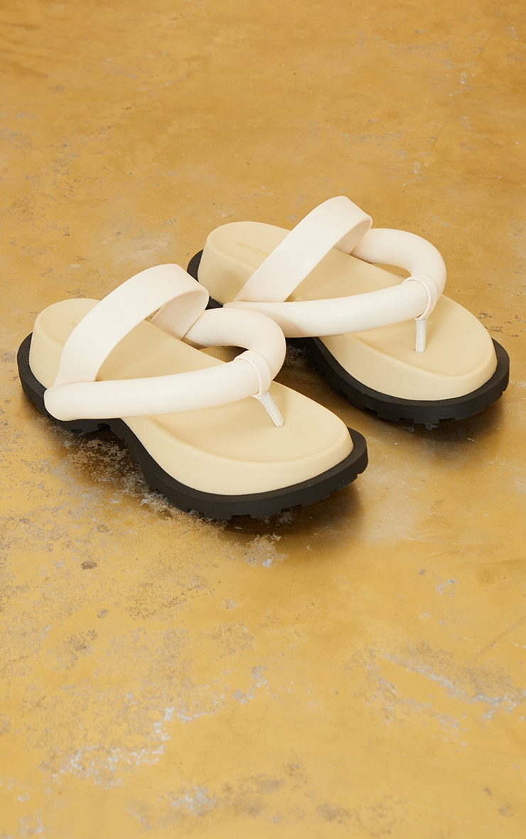 Cream Chunky Toe Thong Padded Strap Sandals 3
