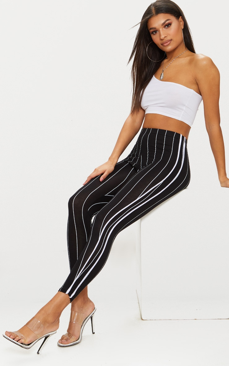 Black Pinstripe High Waisted Side Stripe Legging  1
