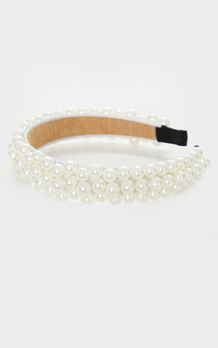 White Pearl Embellished Alice Headband 2
