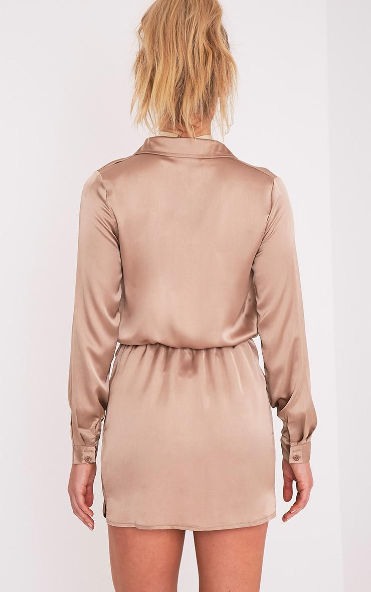 Katalea Mocha Twist Front Silky Shirt Dress 2