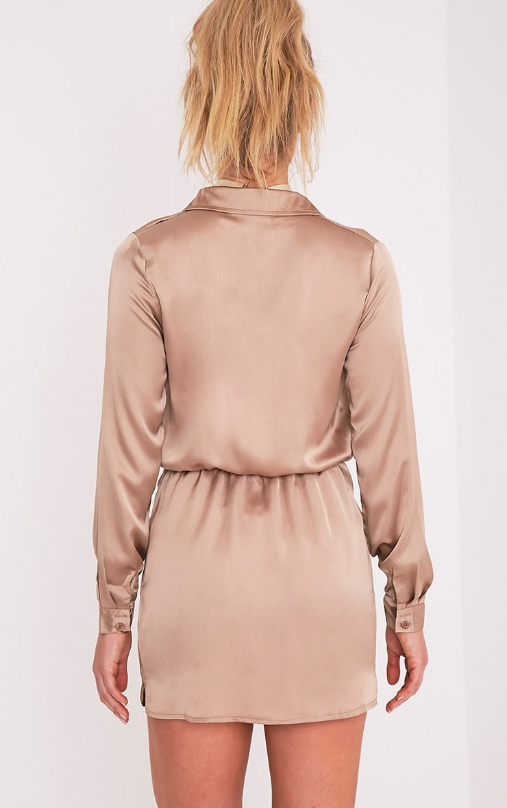 Katalea robe chemise moka en soie à devant torsadé 2