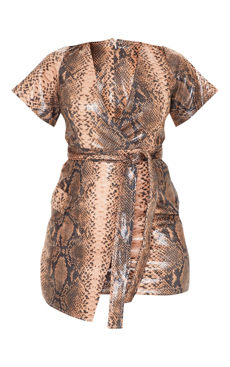 Nude PU Snake Print Wrap Bodycon Dress 3