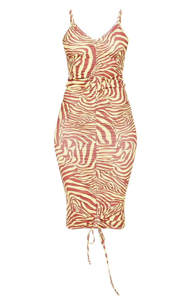 Yellow Zebra Print Slinky Strappy Ruched Midaxi Dress 5