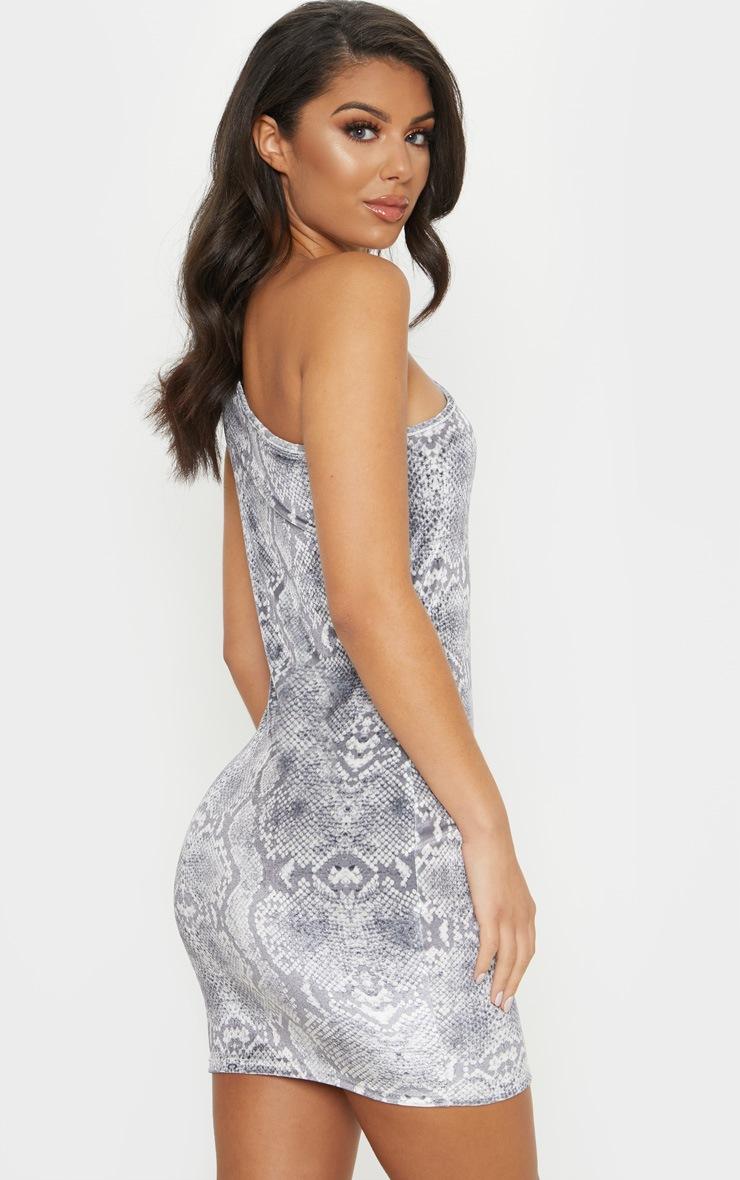 Grey Snake Print Velvet One Shoulder Bodycon Dress 2