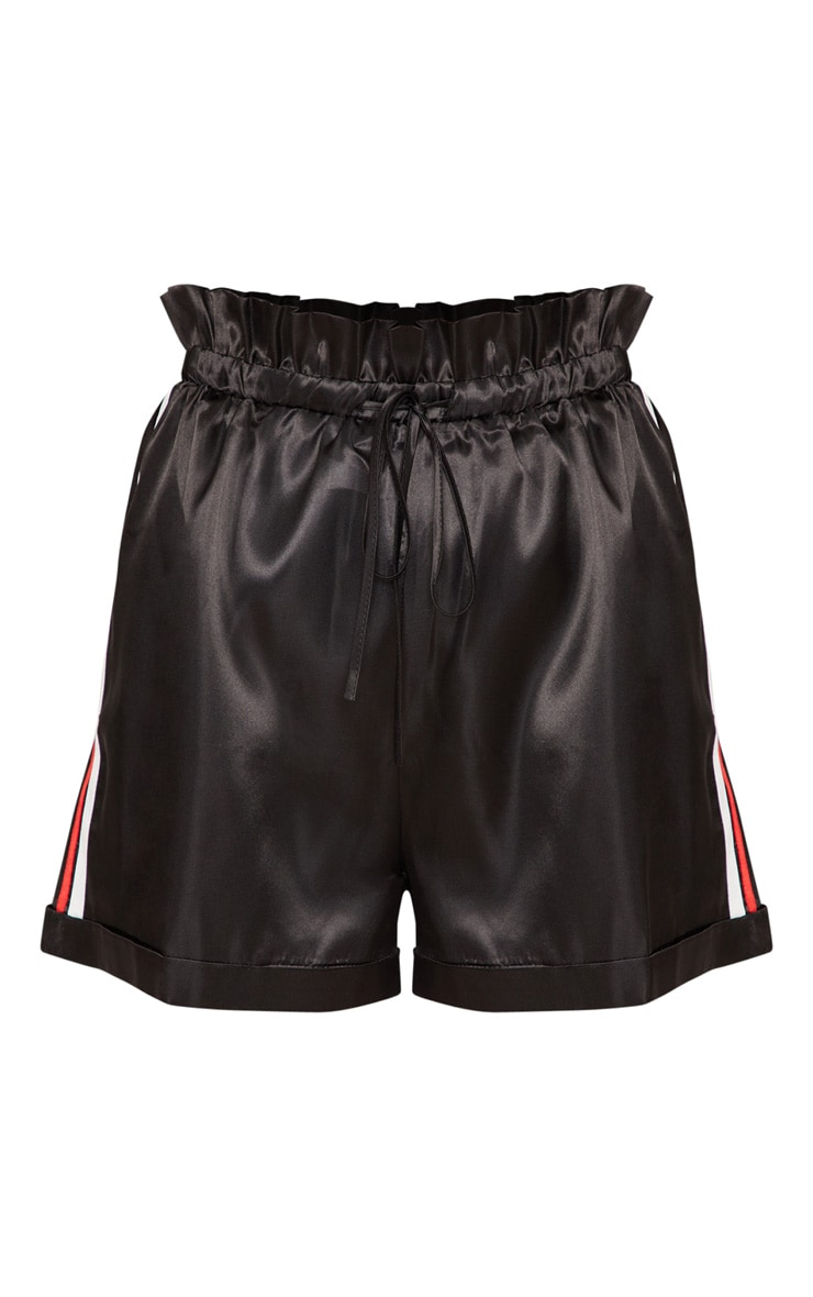 Black Side Stripe Satin Drawstring Short 3