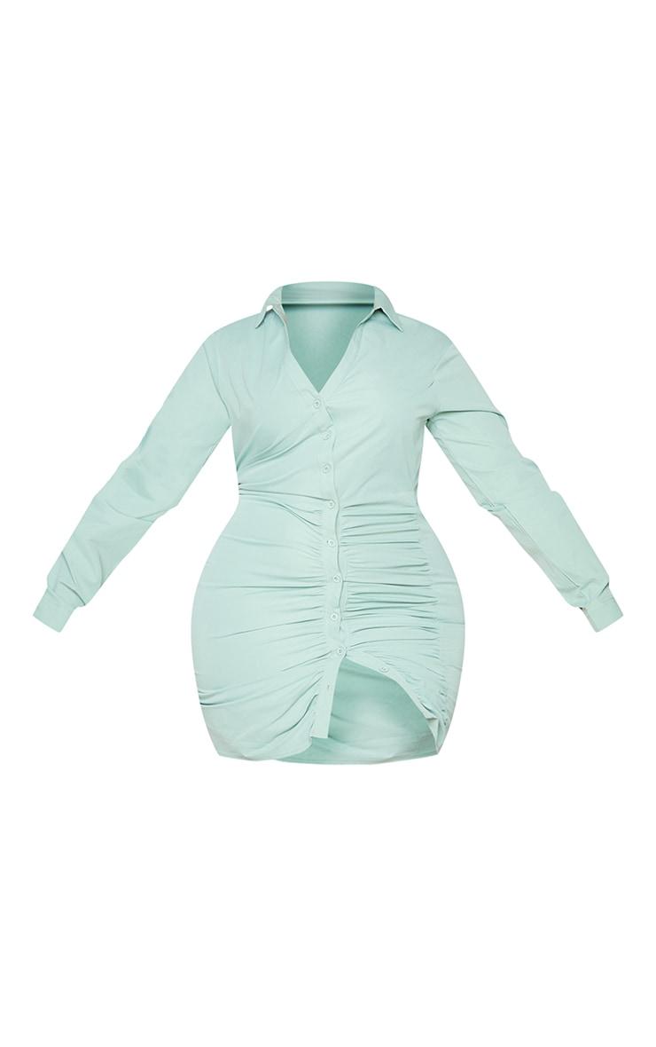Plus Sage Green Ruched Shirt Dress 5