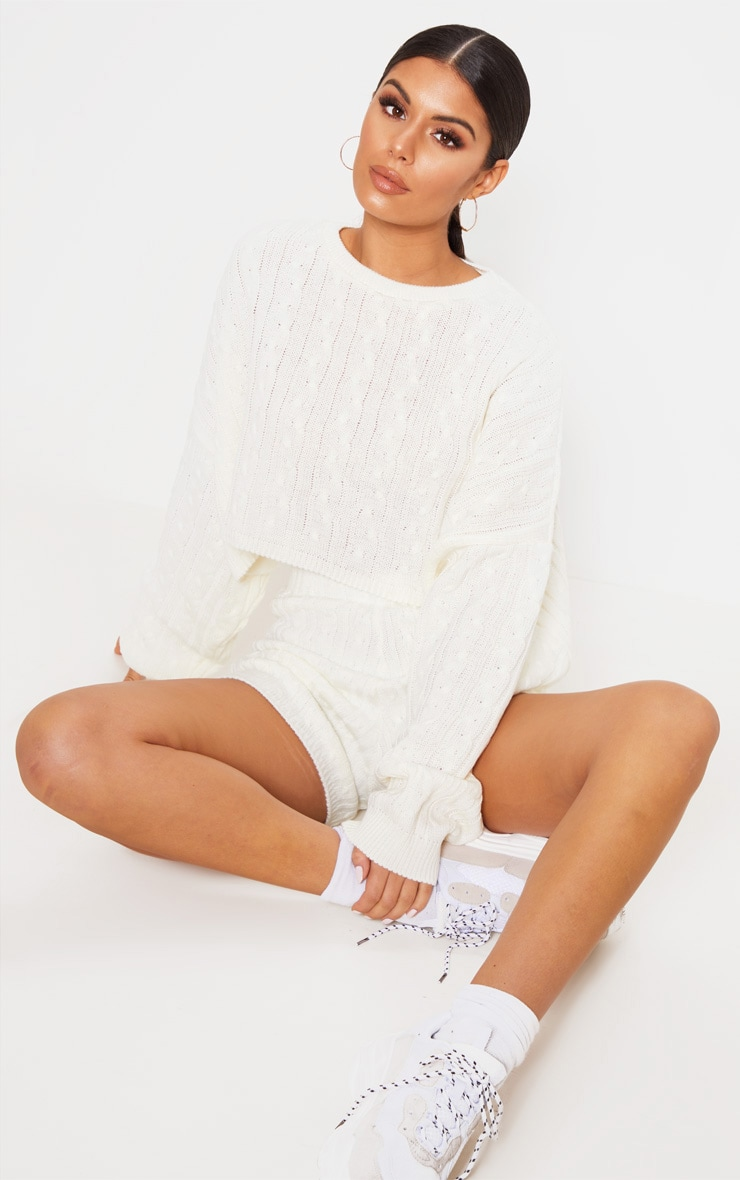Cream Oversized Crop Knit Jumper 1