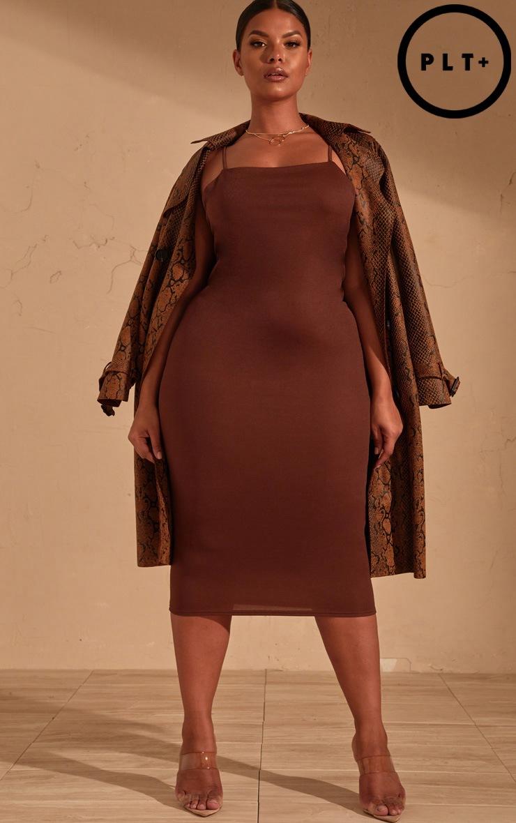 Plus Chocolate Brown  Strappy Midi Dress 1