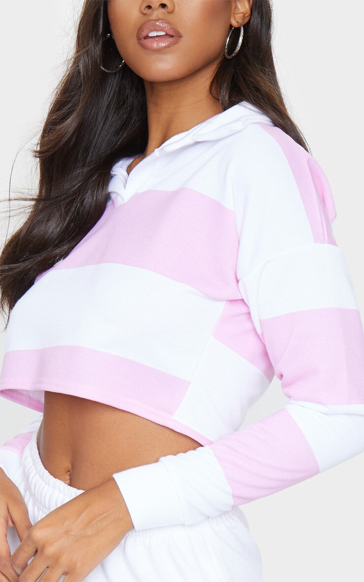 Baby Pink Stripe Collar Polo Long Sleeve Crop Top 4