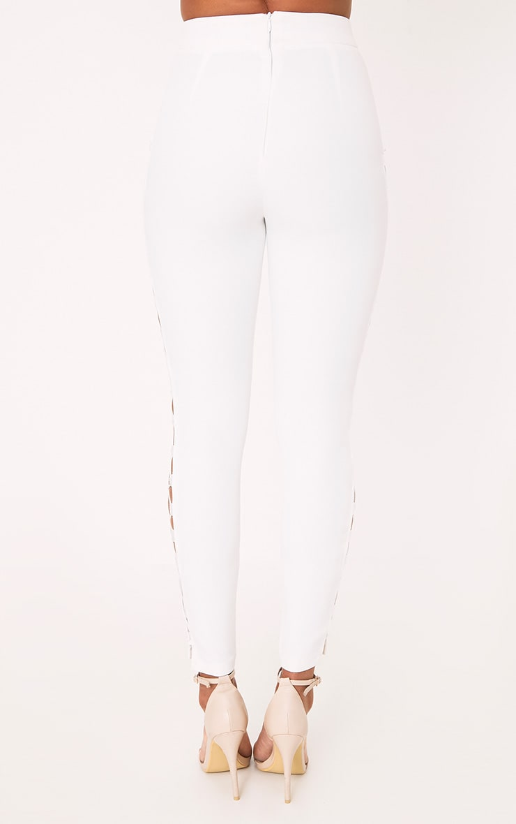 Anetta White Lace Up Side Skinny Trousers 4