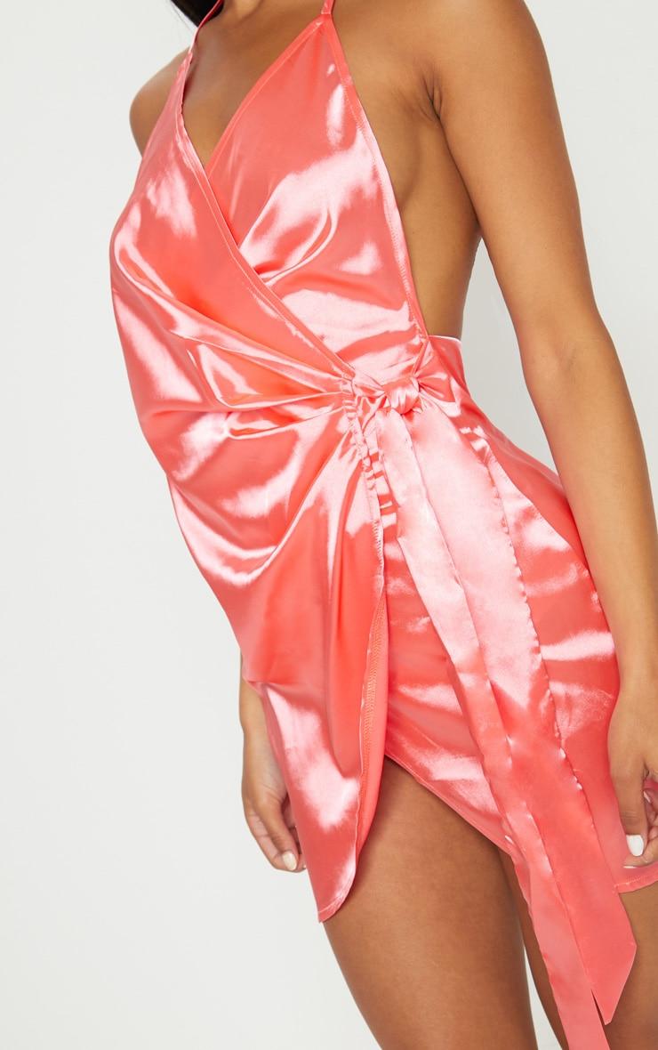 Coral Pink Satin Halterneck Wrap Bodycon Dress 5