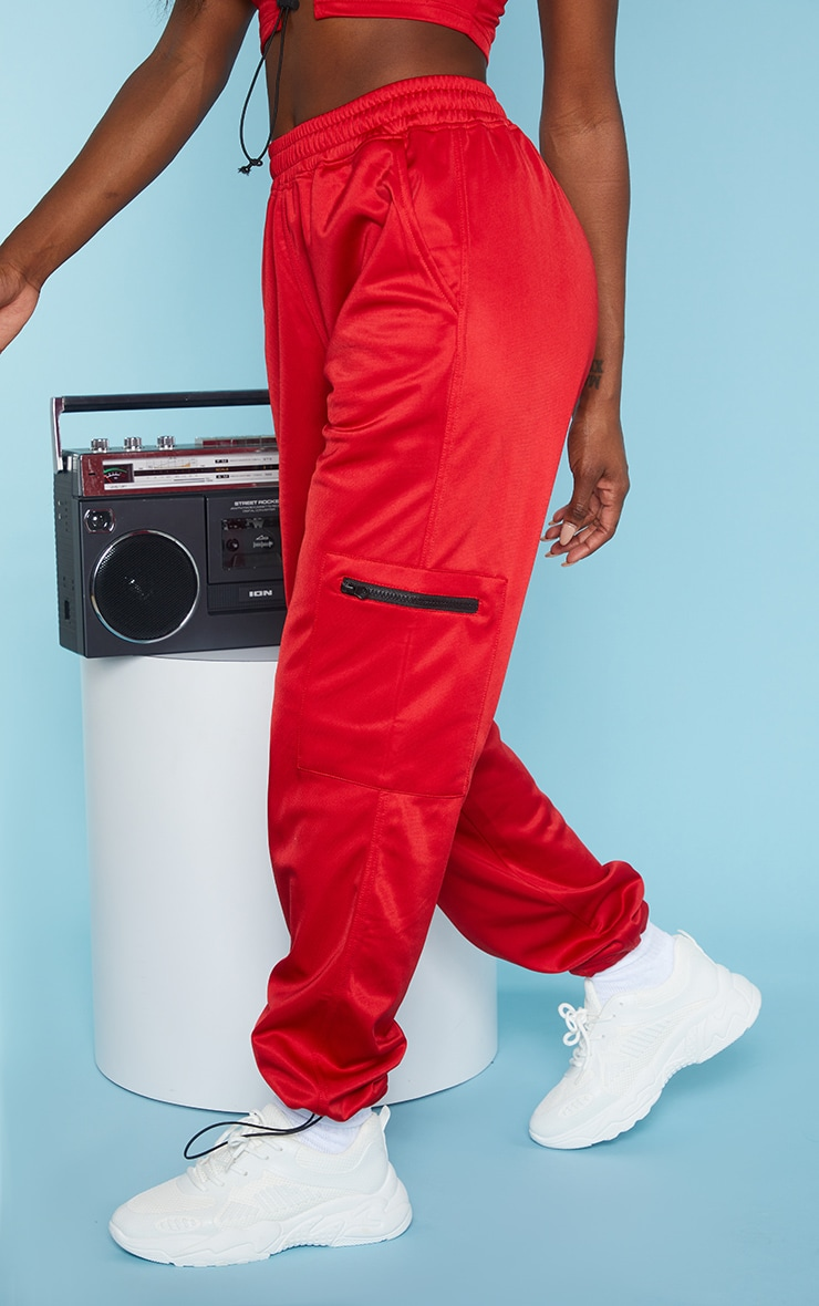 Red Zip Pocket Detail Joggers 2