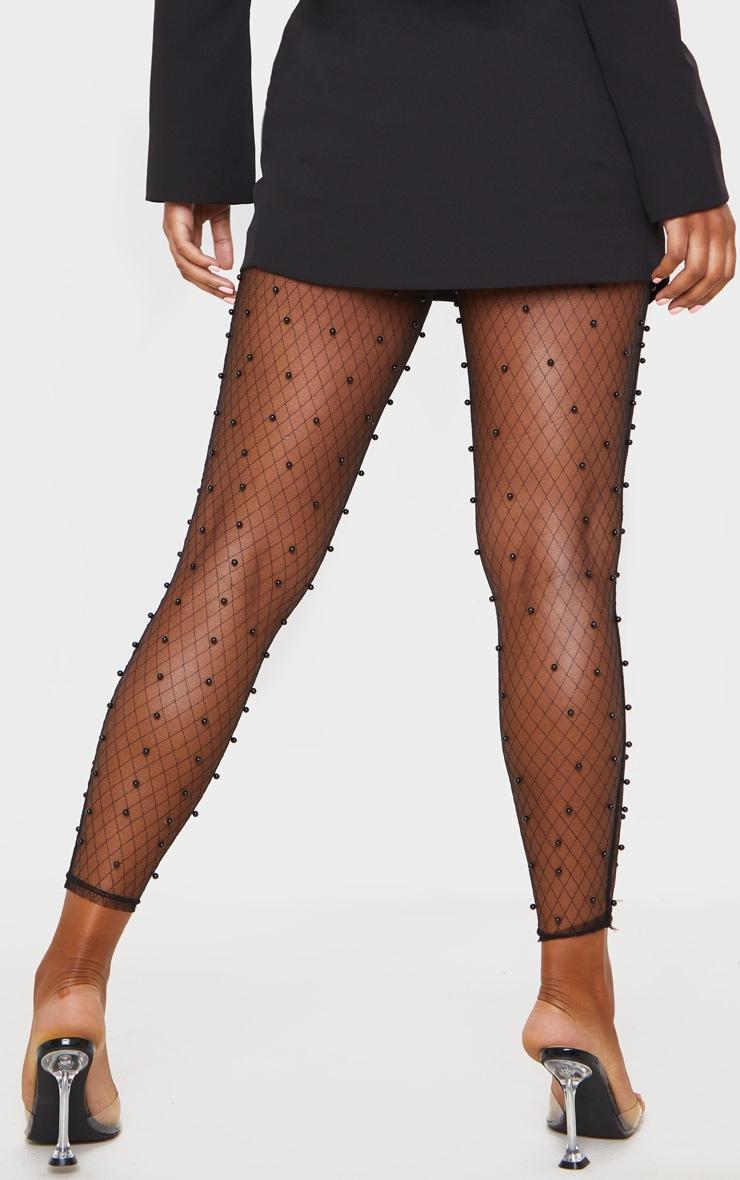 Black Beaded Skinny Mesh Pants 4