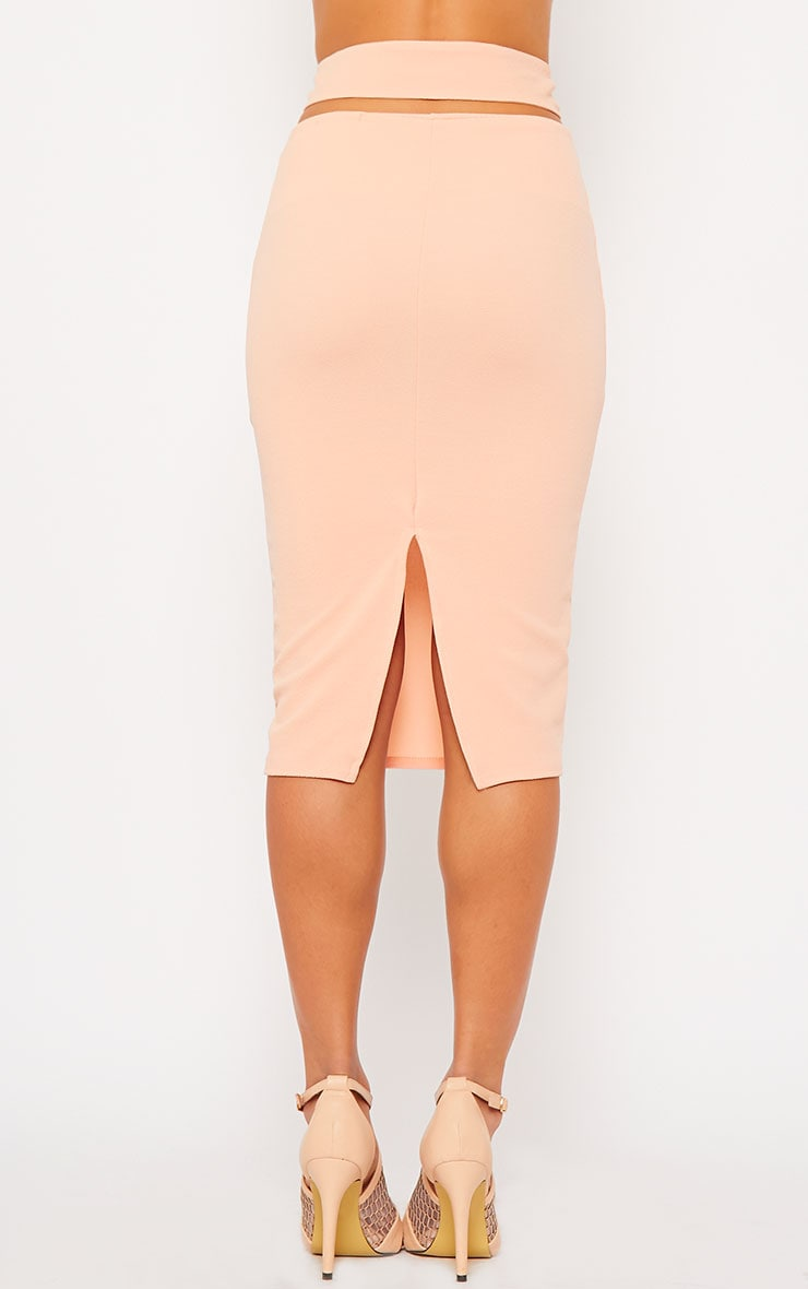 Shanel Nude Cut Out Midi Skirt 4