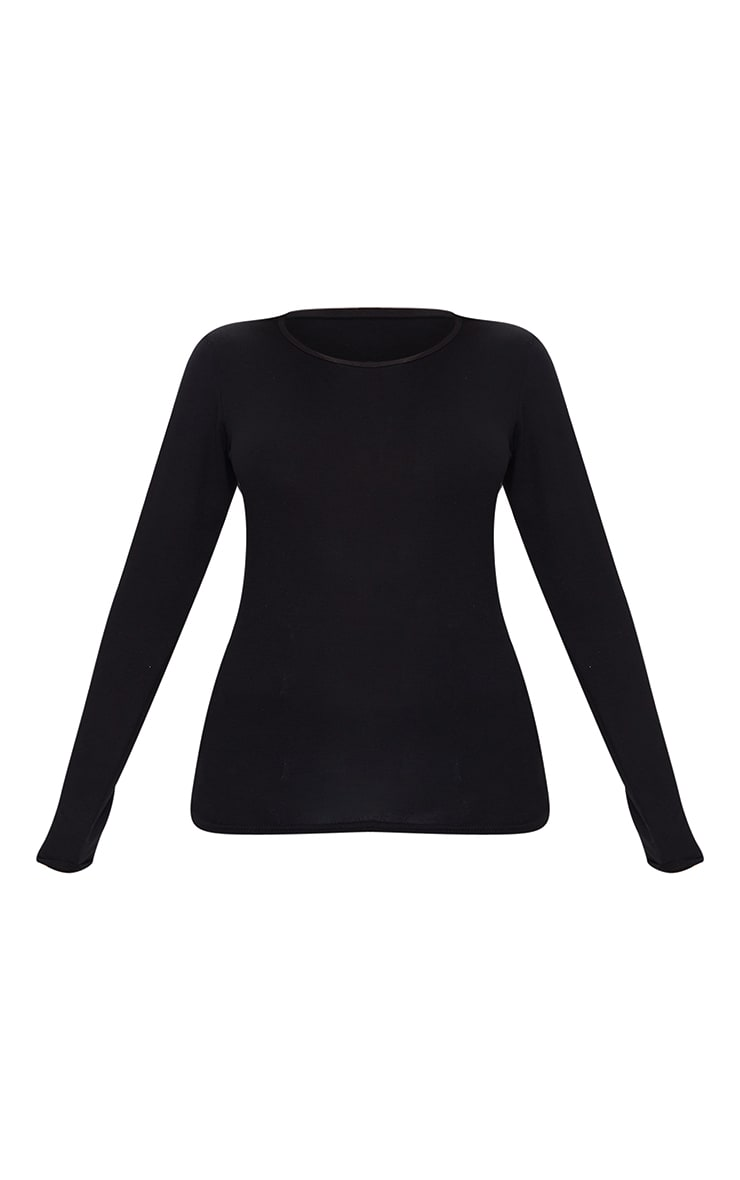 Petite Basic Black Long Sleeve Fitted T Shirt 5