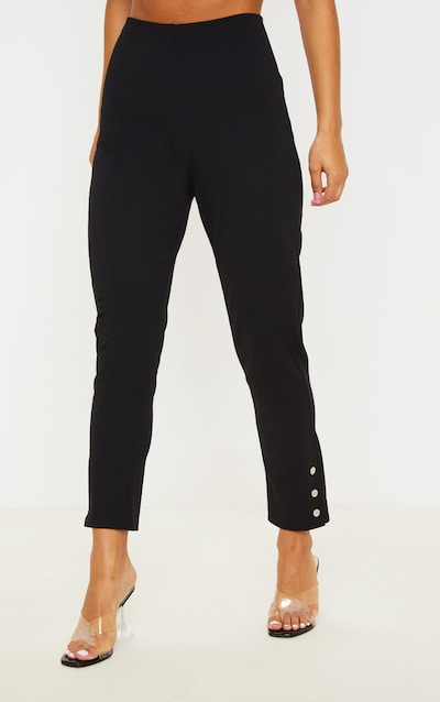 Black Popper Ankle Detail Skinny Trouser