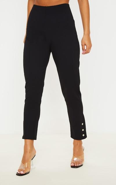 Black Popper Ankle Detail Skinny Trouser