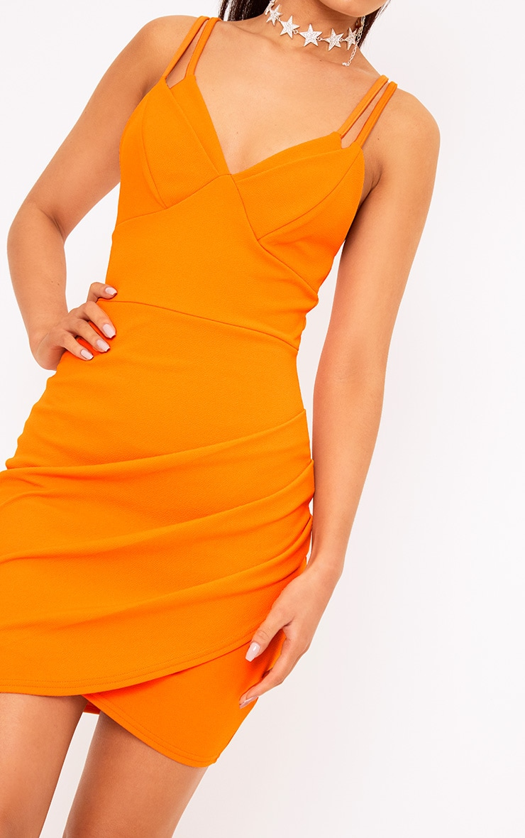 Bright Orange Double Strap Bodycon Dress 5