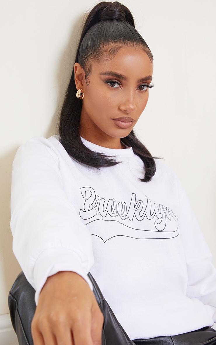 Cream Brooklyn Slogan Sweatshirt 1