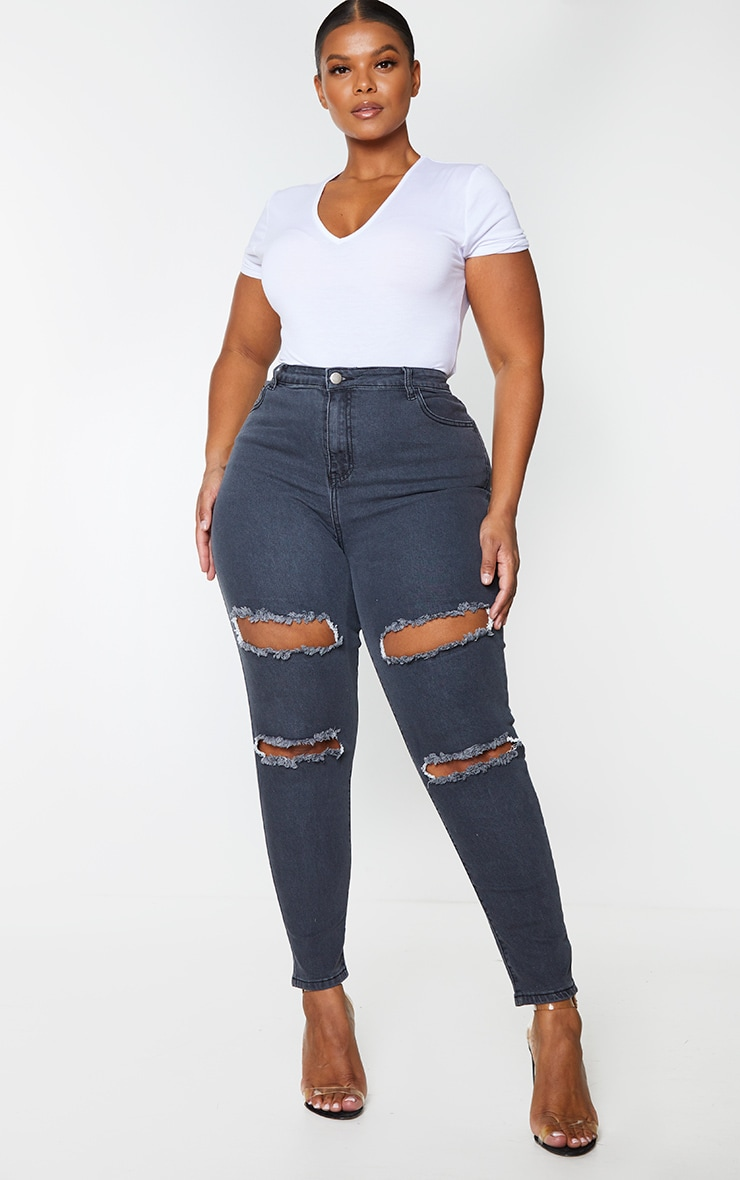 Plus PRETTYLITTLETHING Washed Black Double Rip High Waisted 5 Pocket Skinny Jean 1