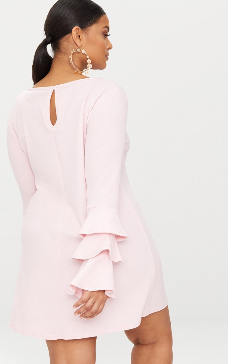 Plus Dusty Pink Frill Sleeve Shift Dress 2