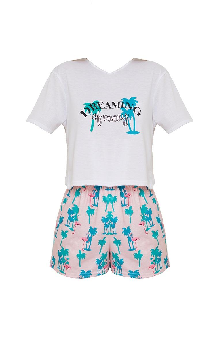 Turquoise Dreaming Of Vacay Slogan Shorts PJ Set 5