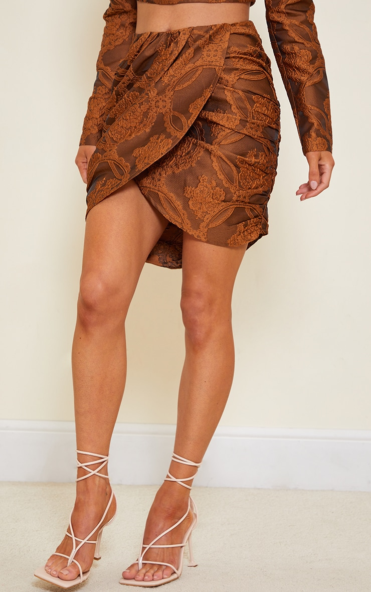 Camel Structured Embossed Jacquard Panel Front Puff Mini Skirt 2
