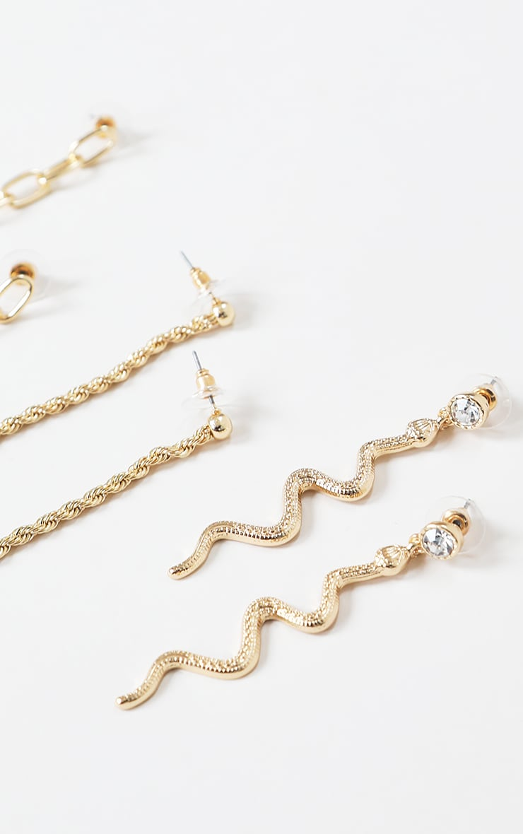 Gold Snake And Chain Drop Earrings 3 Pack 1
